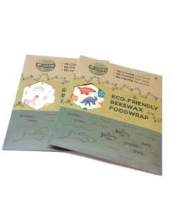 3 Beeswax Food Wraps, Eco-Friendly Organic S/M/L - Unicorns or Dinosaurs!